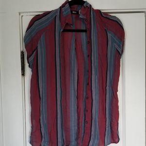 BDG Short Sleeve Striped Button Down